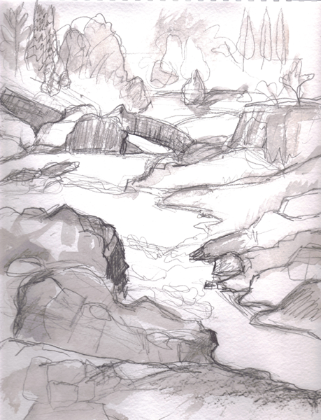 Narrows Series, Pencil with wash